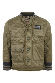 Boys Green Quilted Jacket
