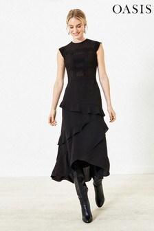 Oasis Black Lace Frill Midi Dress