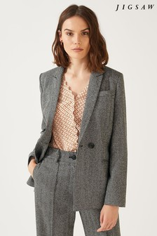 Jigsaw Grey Wide Herringbone Double Breasted Jacket