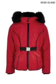 River Island Red Eliza Padded Jacket