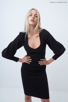 French Connection Black Joss Knits Balloon Sleeve Dress