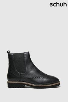 Schuh Black Cecilia Leather Brogue Chelsea Boots