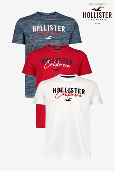 Hollister White/Red/Navy Short Sleeve Logo T-Shirts Three Pack