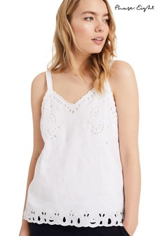 Phase Eight White Broidery Linen Cami