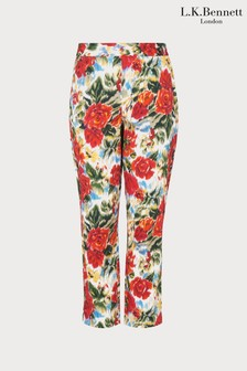 L.K.Bennett Red Issie Rose Print Trouser