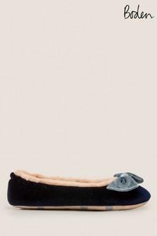 Boden Blue Velvet Bow Slippers