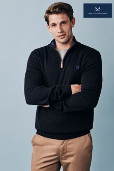 Crew Clothing Company Black Classic 1/2 Zip Knit