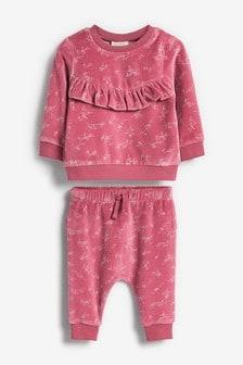 Велюровый костюм в мелкий цветочек (0 мес. - 2 лет)