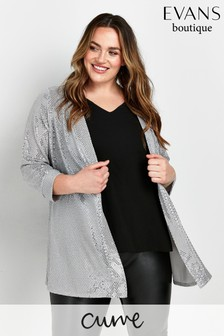 Evans Curve Silver Sequin Jacket