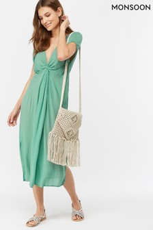 Monsoon Ladies Green Esme Knot Front Kaftan