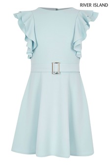 River Island Blue Ruffle Sleeve Dress