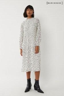 Warehouse Cream Spot Micropleat Midi Dress