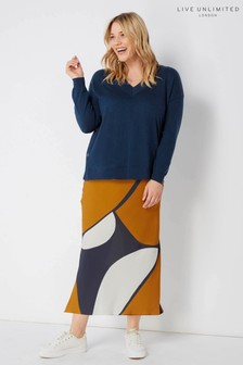 Live Unlimited Navy Abstract Circle Print Bias Skirt