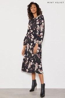 Mint Velvet Black Gabriella Floral Midi Dress