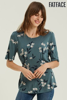 FatFace Green Marley Etched Floral Top