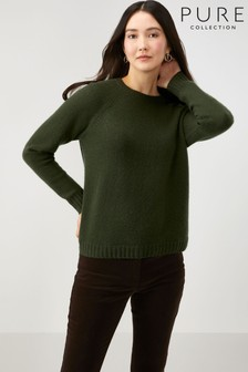 Pure Collection Green Cashmere Lofty Sweatshirt