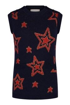Girls Navy Wool Knitted Tunic Dress
