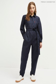 French Connection Blue Maggia Light Belted Jumpsuit