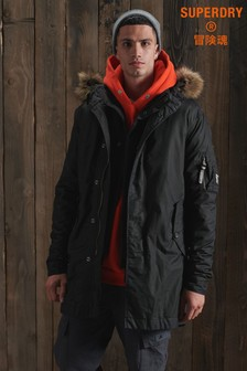 Superdry Service Faux Fur Trim Parka Coat