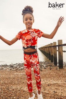 Baker by Ted Baker Red Floral Top And Legging Set