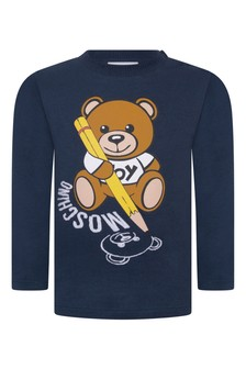 Baby Navy Cotton Long Sleeve T-Shirt
