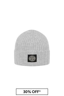 Stone Island Junior Boys Grey Beanie Hat