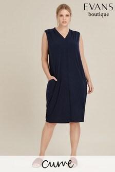 Evans Blue Curve Sleeveless Ity Pocket Dress