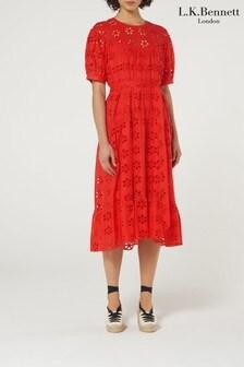 L.K.Bennett Red Rego Cotton Midi Dress