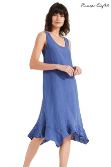 Phase Eight Blue Beverley Linen Dress
