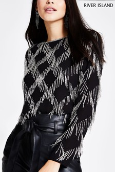 River Island Black Tess Tassel Sequin Top