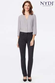 NYDJ Grey Marilyn Straight Leg Ponte Knit 5 Pocket Trousers
