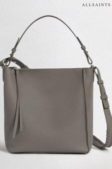 AllSaints Storm Grey Kita Leather Shoulder Bag