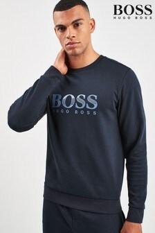 BOSS Blue Tracksuit Shiny Print Logo Sweat