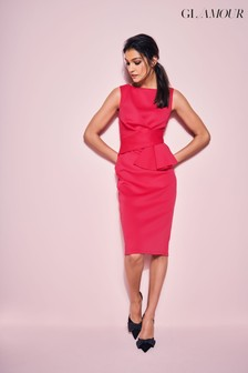 Khost Glamour Red Cerise Ruffle Scuba Dress