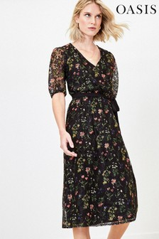 Oasis Black Floral Lace Midi Dress