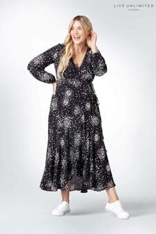 Live Unlimited Black Jersey Clustered Spot Wrap Dress