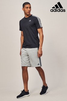adidas Grey Essential 3 Stripe Short