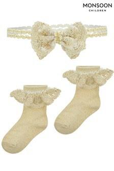 Monsoon Baby Bow Sock And Headband Set
