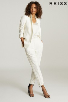 Reiss White Leigh Wool Blend Tuxedo Trousers