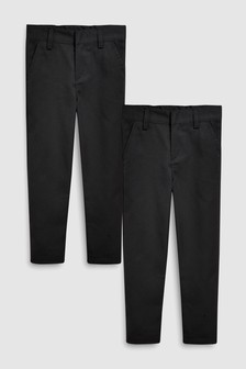 Flat Front Slim Fit Trousers Two Pack (3-16yrs)