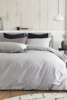 Natural Organic Washed Cotton Geometric Ties Duvet Cover and Pillowcase Set