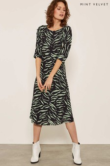 Mint Velvet Green Nadine Print Button Sleeve Midi Dress