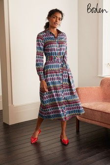 Boden Grey Isodora Midi Shirt Dress
