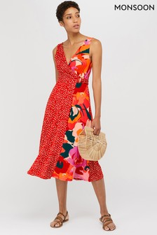 Monsoon Red Saige Jersey Print Midi Dress