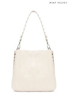 Mint Velvet Chloe Chalk Stud Shoulder Bag