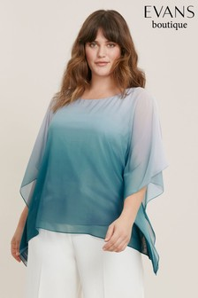 Evans Curve Teal Blue Ombre Cape Top