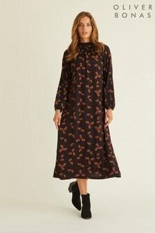 Oliver Bonas Mini Paisley Print Black Midi Dress