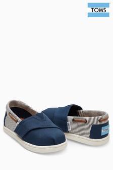 Chaussures bateau Toms bleu marine en toile à rayures et fermeture velcro