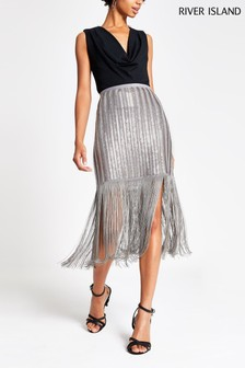 River Island Grey Linear Sequin Tassel Pencil Skirt