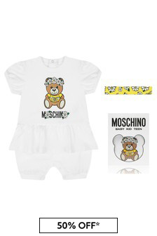 Moschino Kids Baby Girls Pink Cotton Romper Gift Set